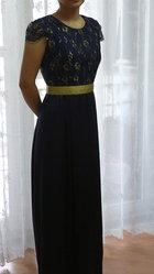 Продам  вечернее платье в пол синего цвета,  р-р 42